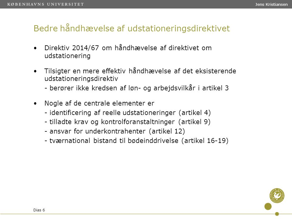 Bedre håndhævelse af udstationeringsdirektivet