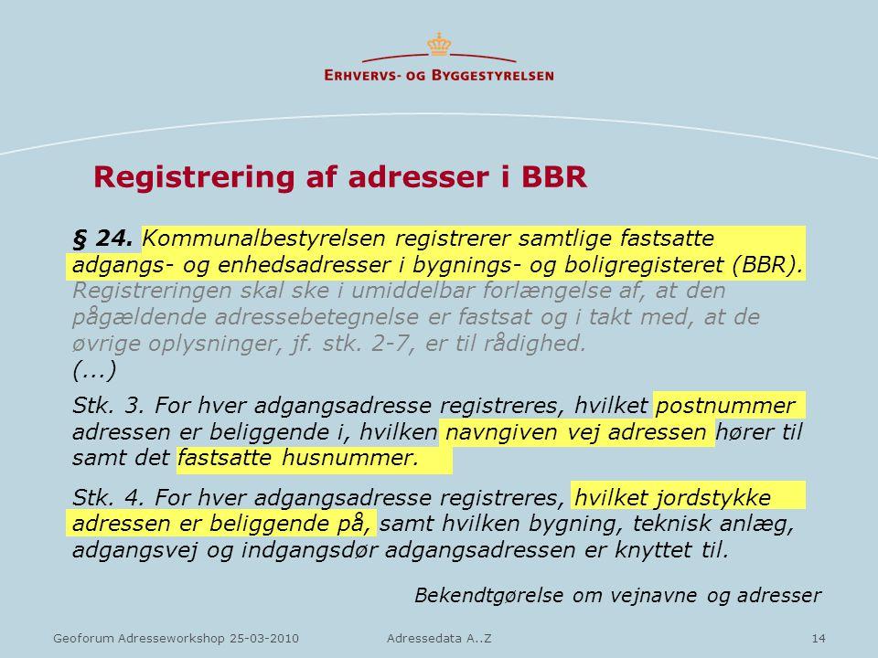Registrering af adresser i BBR