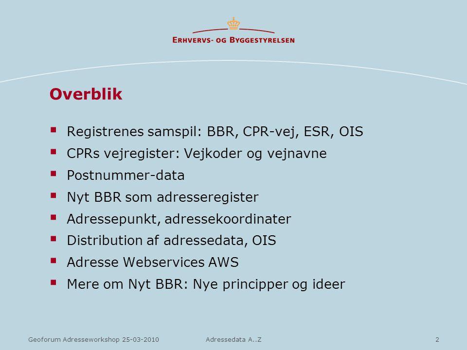 Overblik Registrenes samspil: BBR, CPR-vej, ESR, OIS