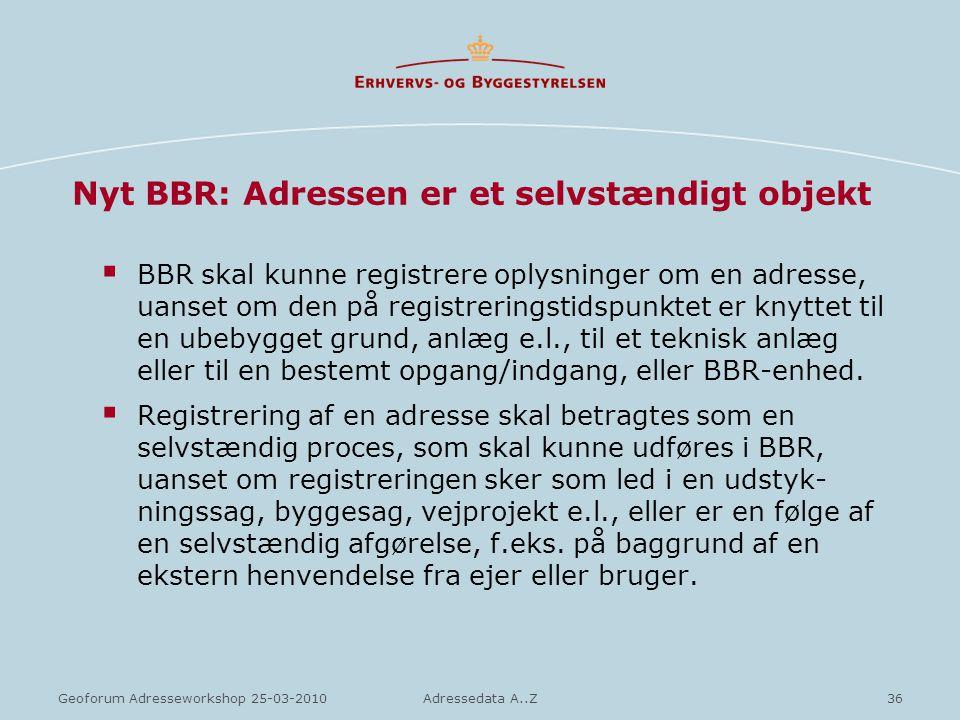 Nyt BBR: Adressen er et selvstændigt objekt