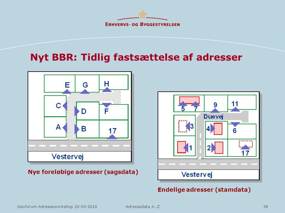 Nyt BBR: Tidlig fastsættelse af adresser