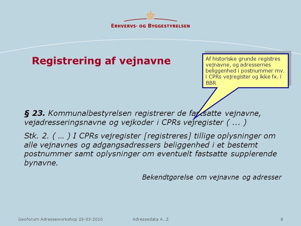 Registrering af vejnavne