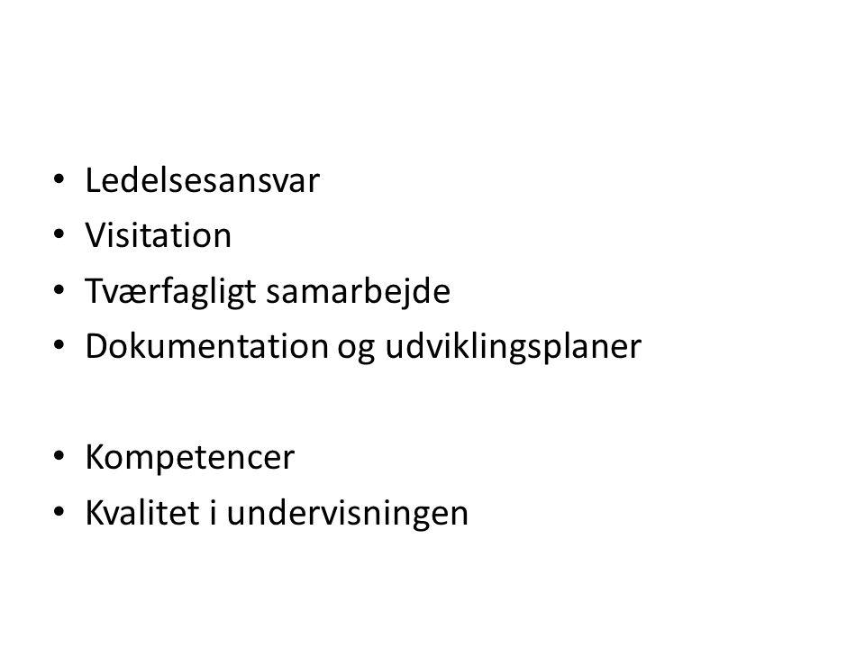 Ledelsesansvar Visitation. Tværfagligt samarbejde. Dokumentation og udviklingsplaner. Kompetencer.