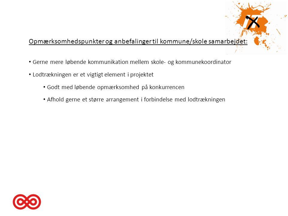 Opmærksomhedspunkter og anbefalinger til kommune/skole samarbejdet: