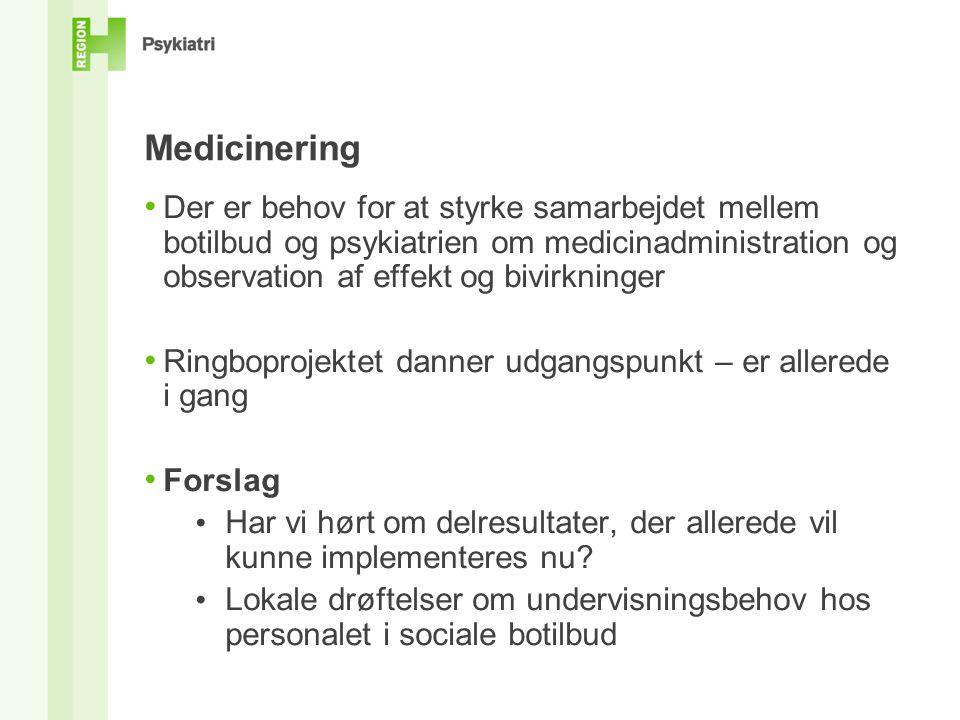 Medicinering Der er behov for at styrke samarbejdet mellem botilbud og psykiatrien om medicinadministration og observation af effekt og bivirkninger.