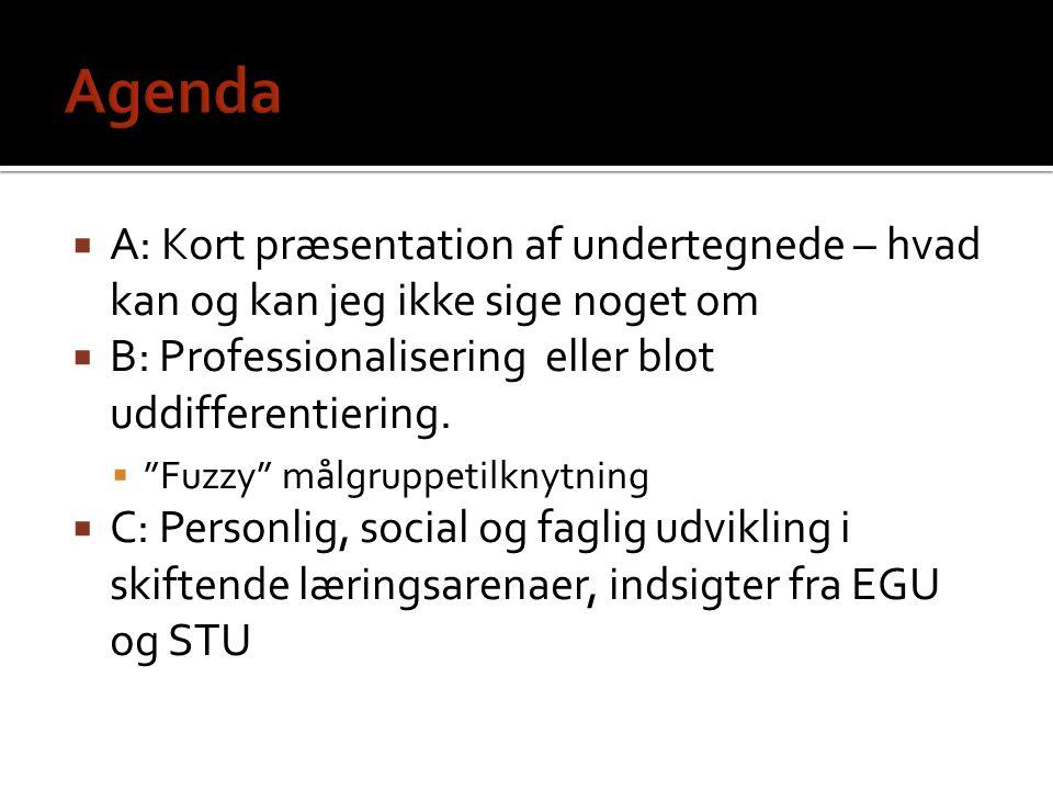Agenda A: Kort præsentation af undertegnede – hvad kan og kan jeg ikke sige noget om. B: Professionalisering eller blot uddifferentiering.