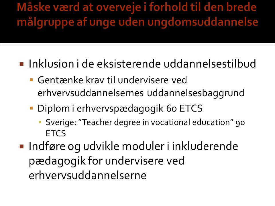 Inklusion i de eksisterende uddannelsestilbud