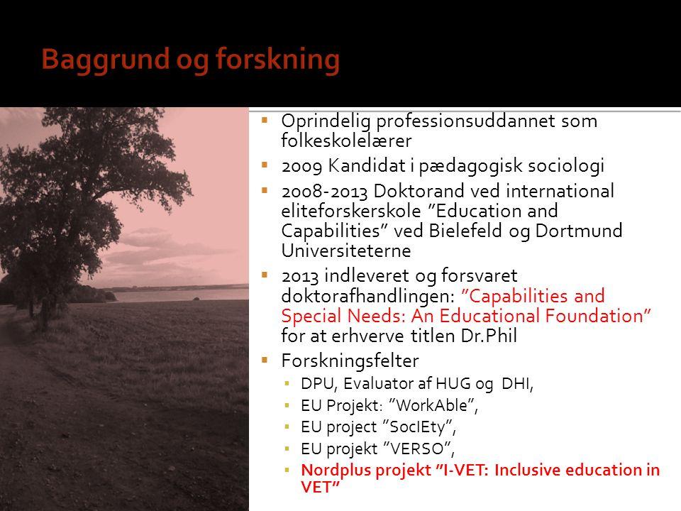 Baggrund og forskning Oprindelig professionsuddannet som folkeskolelærer. 2009 Kandidat i pædagogisk sociologi.