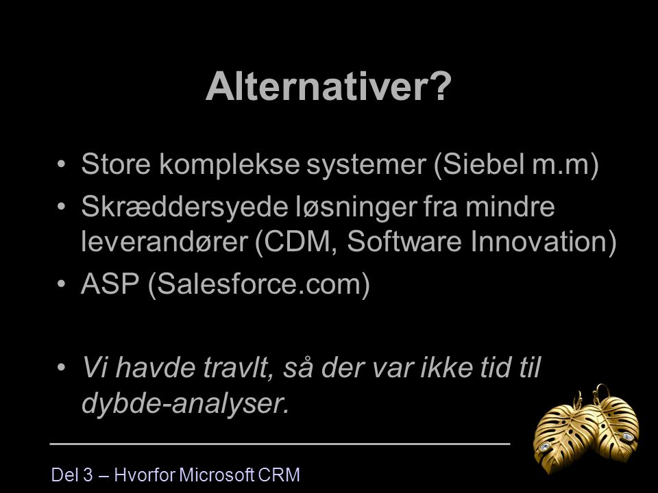 Alternativer Store komplekse systemer (Siebel m.m)