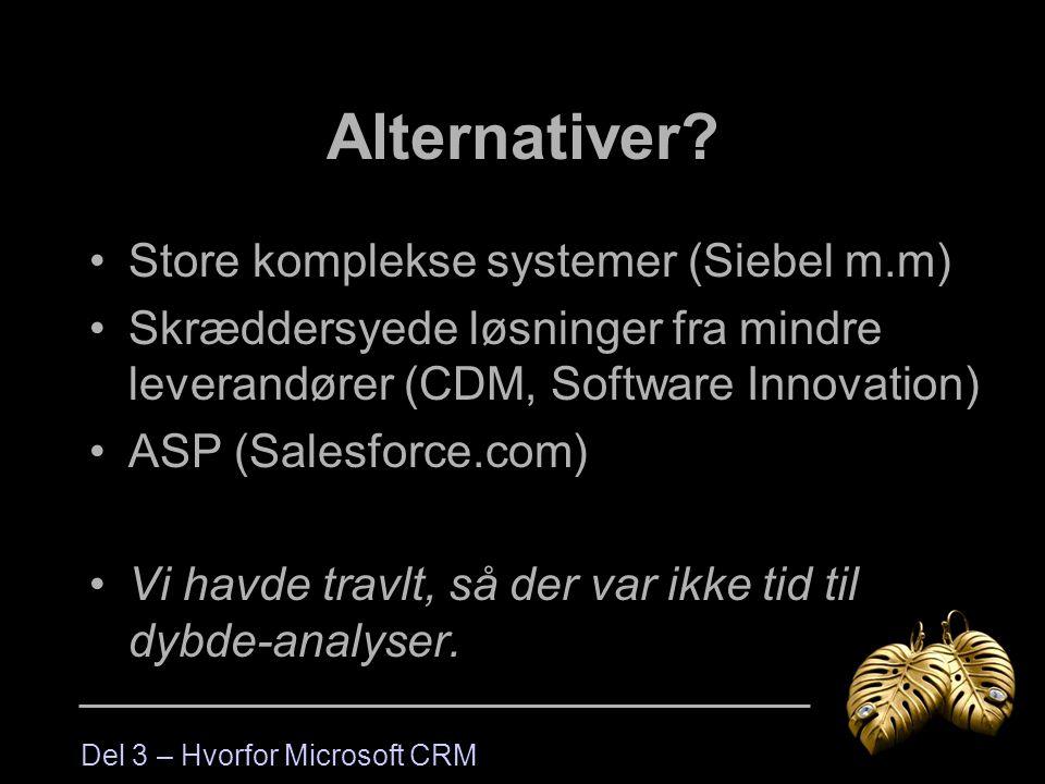 Alternativer Store komplekse systemer (Siebel m.m)