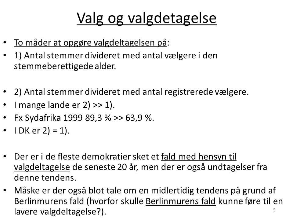 Valg og valgdetagelse To måder at opgøre valgdeltagelsen på: