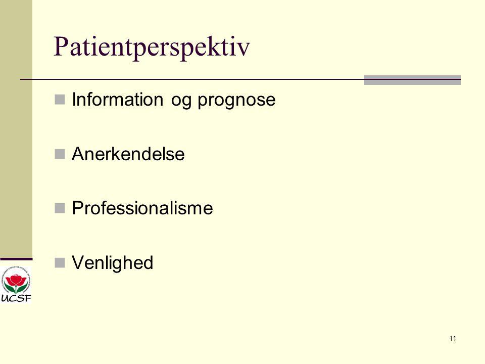 Patientperspektiv Information og prognose Anerkendelse