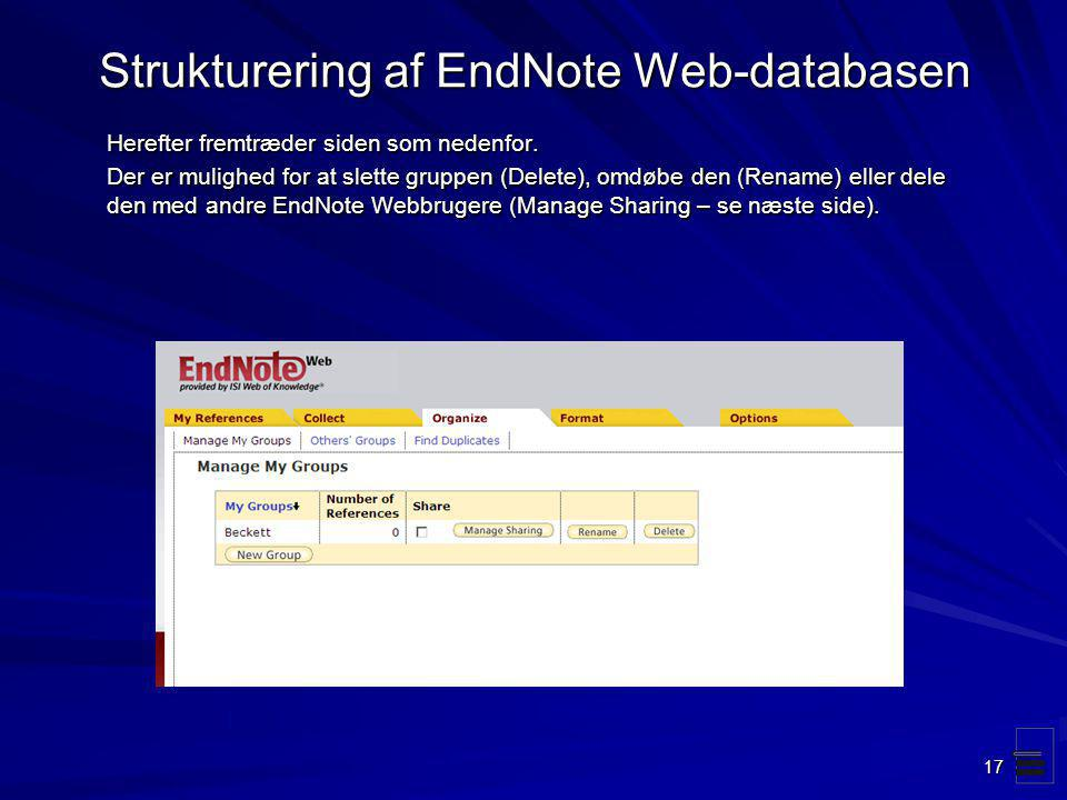 Strukturering af EndNote Web-databasen