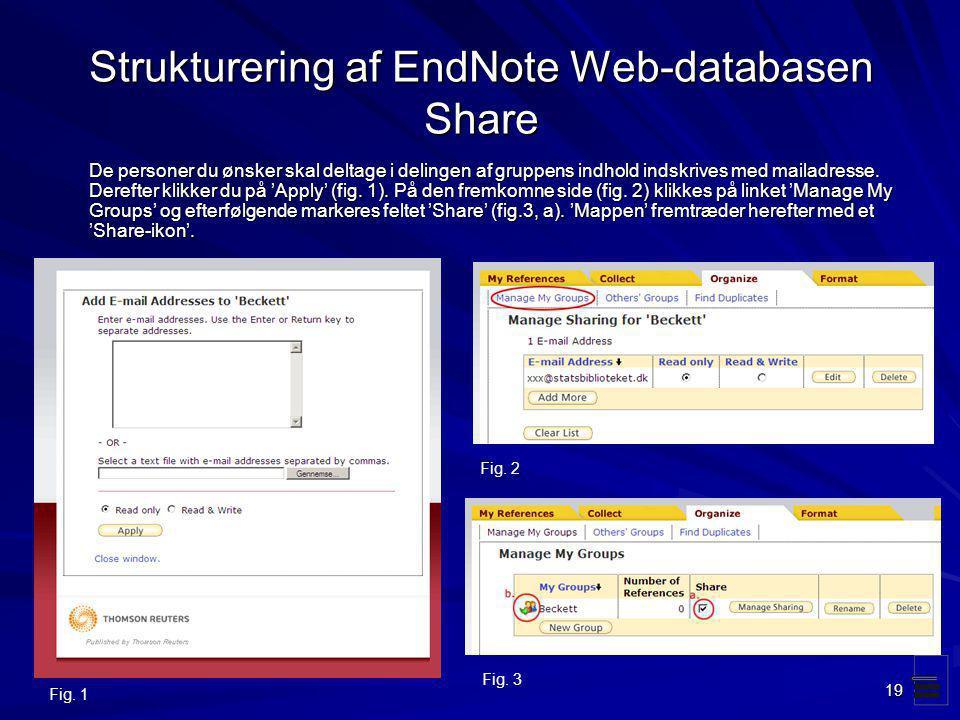 Strukturering af EndNote Web-databasen Share