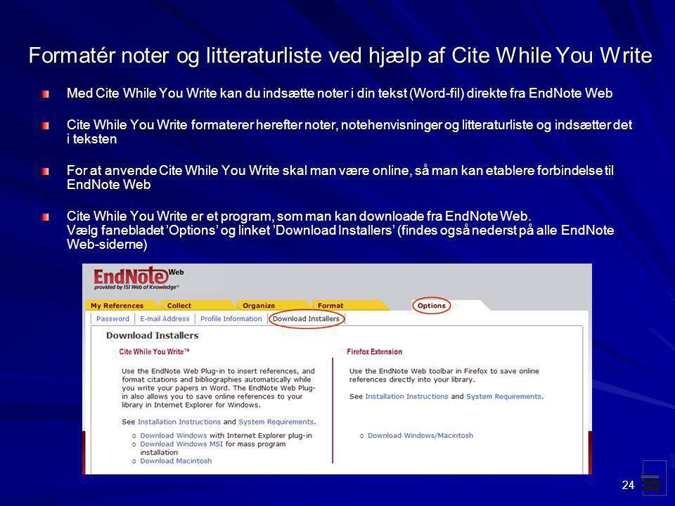 Formatér noter og litteraturliste ved hjælp af Cite While You Write