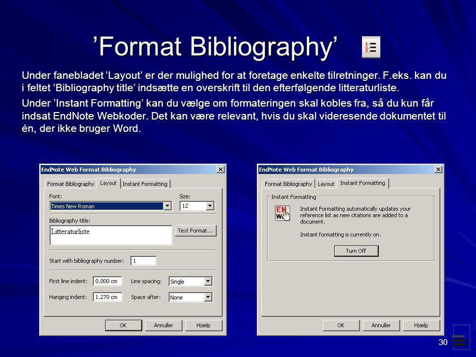 'Format Bibliography'