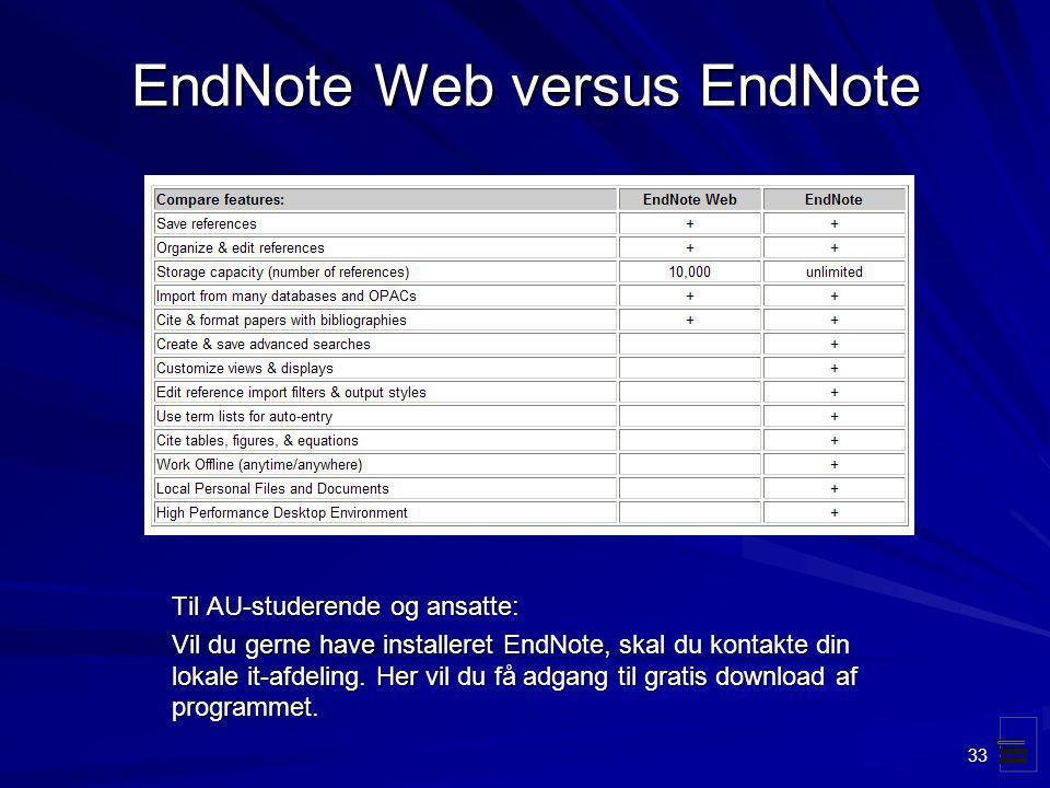 EndNote Web versus EndNote