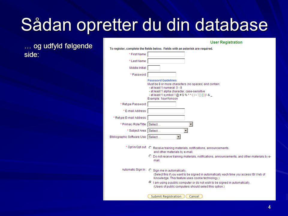 Sådan opretter du din database