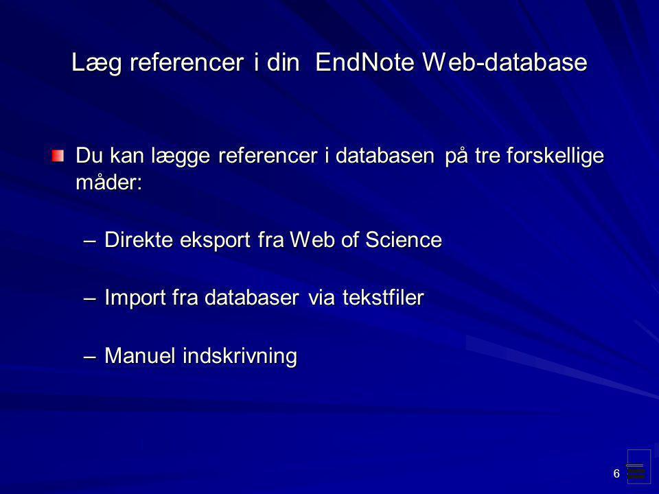 Læg referencer i din EndNote Web-database