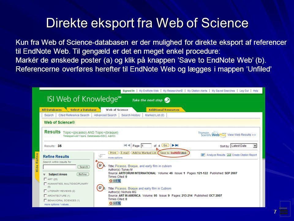 Direkte eksport fra Web of Science