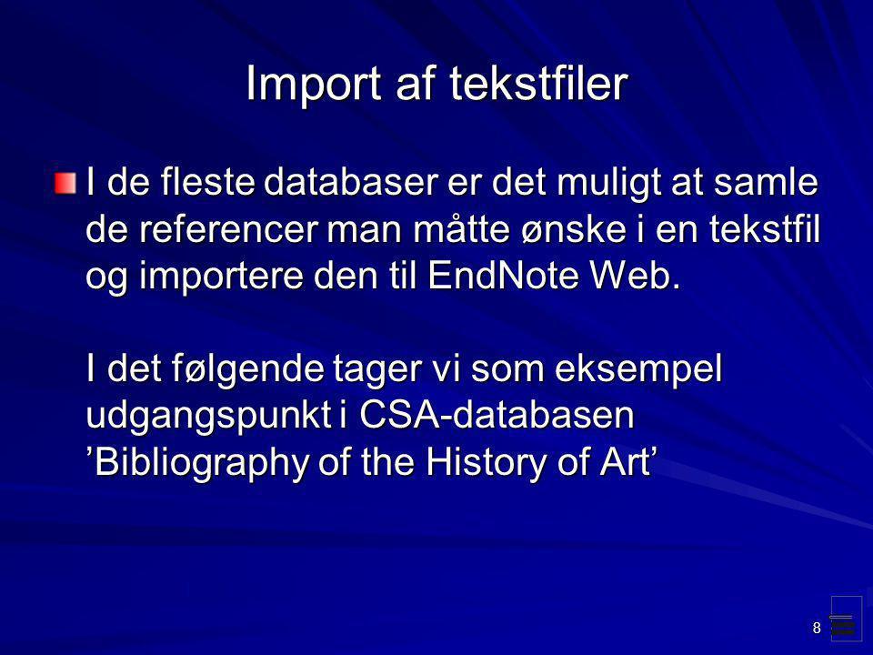 Import af tekstfiler