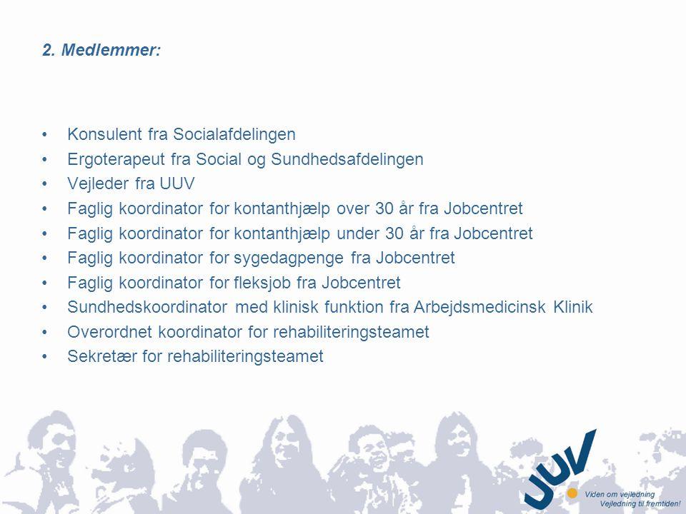 2. Medlemmer: Konsulent fra Socialafdelingen. Ergoterapeut fra Social og Sundhedsafdelingen. Vejleder fra UUV.