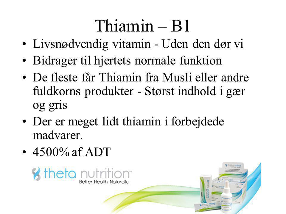 Thiamin – B1 Livsnødvendig vitamin - Uden den dør vi