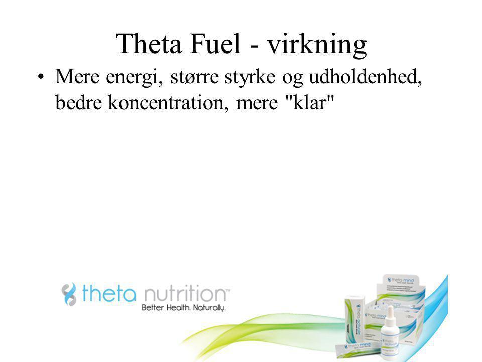 Theta Fuel - virkning Mere energi, større styrke og udholdenhed, bedre koncentration, mere klar
