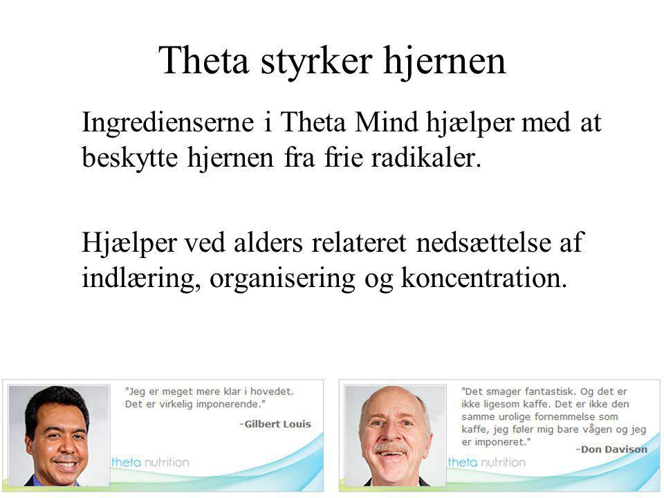 Theta styrker hjernen Ingredienserne i Theta Mind hjælper med at beskytte hjernen fra frie radikaler.