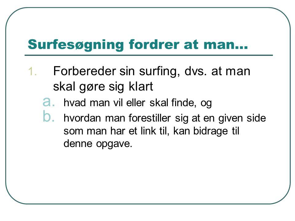 Surfesøgning fordrer at man…