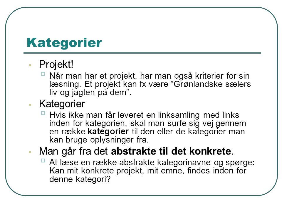 Kategorier Projekt! Kategorier