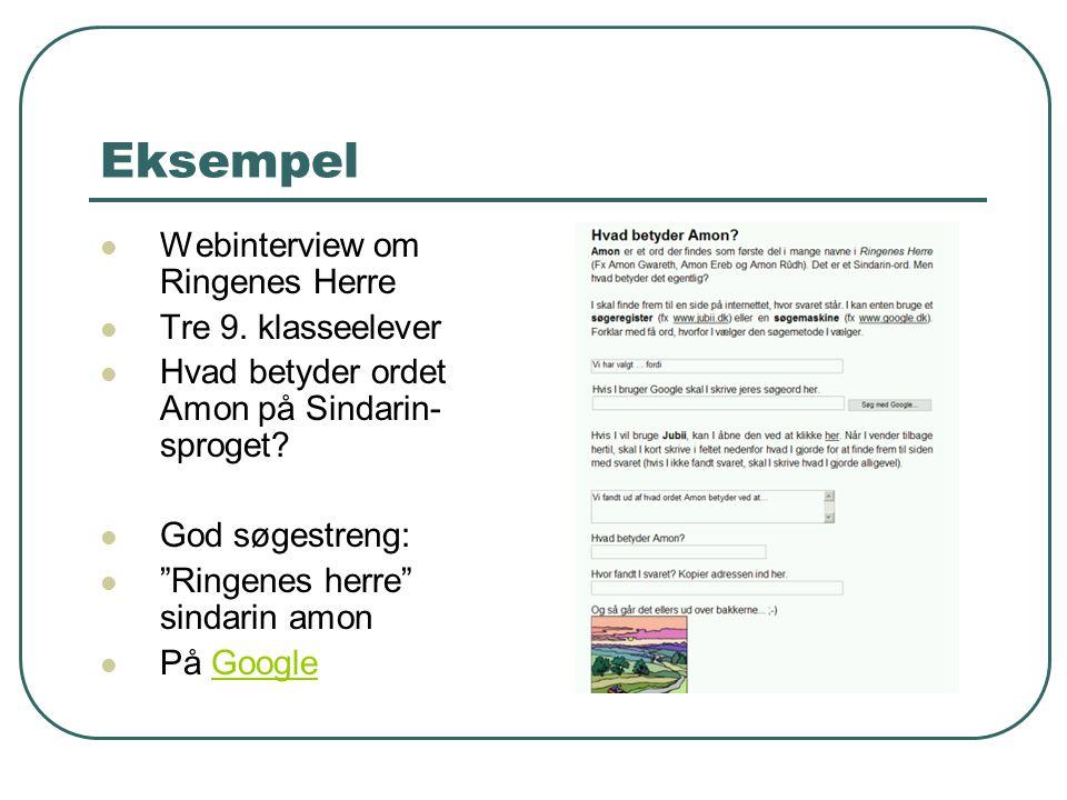 Eksempel Webinterview om Ringenes Herre Tre 9. klasseelever
