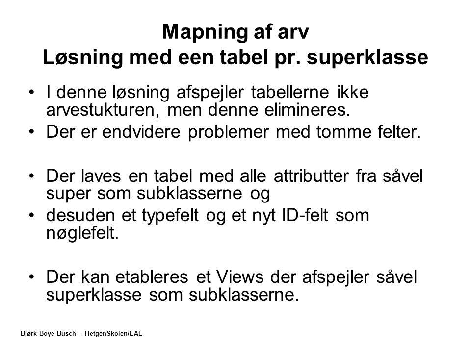 Mapning af arv Løsning med een tabel pr. superklasse