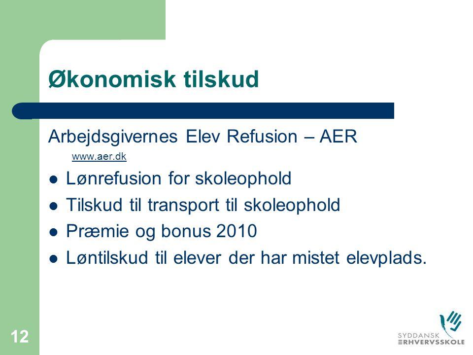 Økonomisk tilskud Arbejdsgivernes Elev Refusion – AER