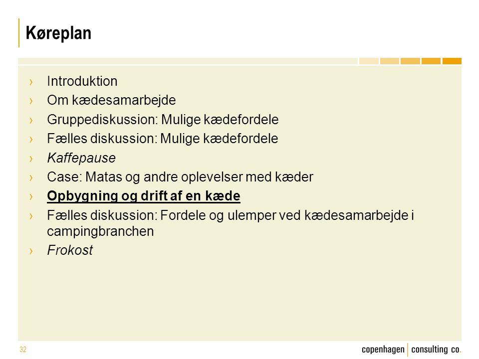 Køreplan Introduktion Om kædesamarbejde