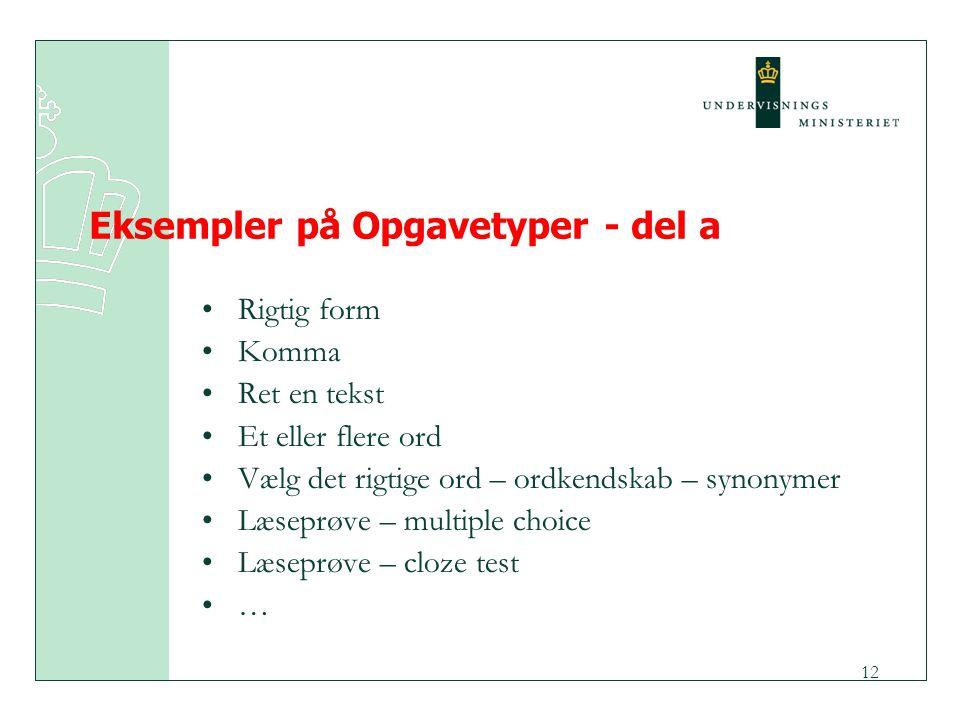 Eksempler på Opgavetyper - del a