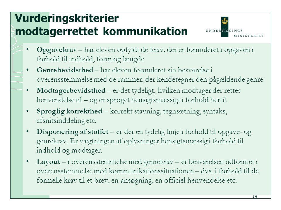 Vurderingskriterier modtagerrettet kommunikation