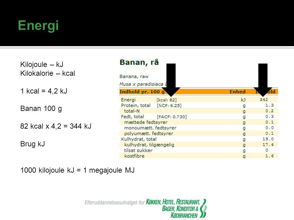 Energi Kilojoule – kJ Kilokalorie – kcal 1 kcal = 4,2 kJ Banan 100 g 82 kcal x 4,2 = 344 kJ Brug kJ 1000 kilojoule kJ = 1 megajoule MJ