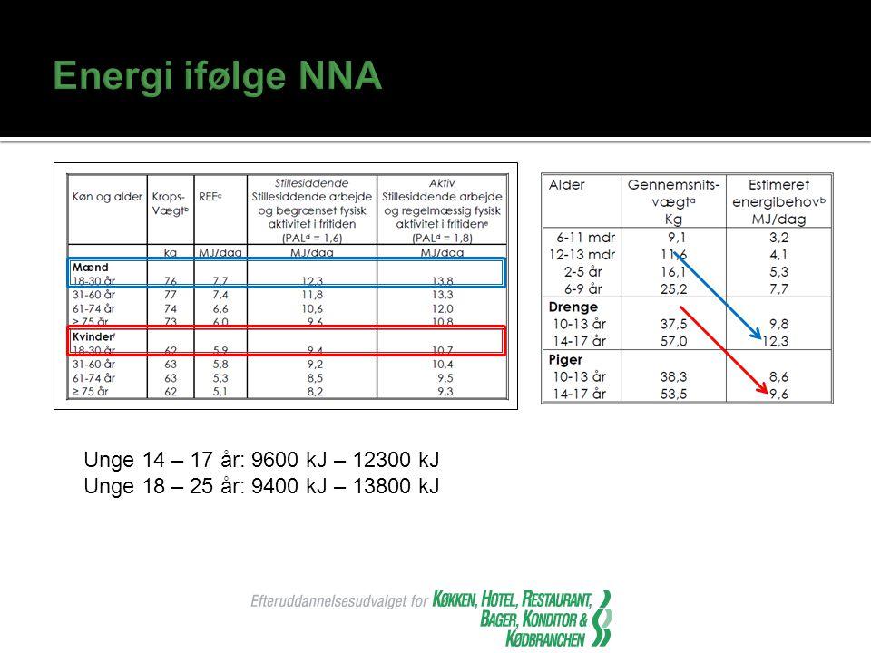 Energi ifølge NNA Unge 14 – 17 år: 9600 kJ – 12300 kJ