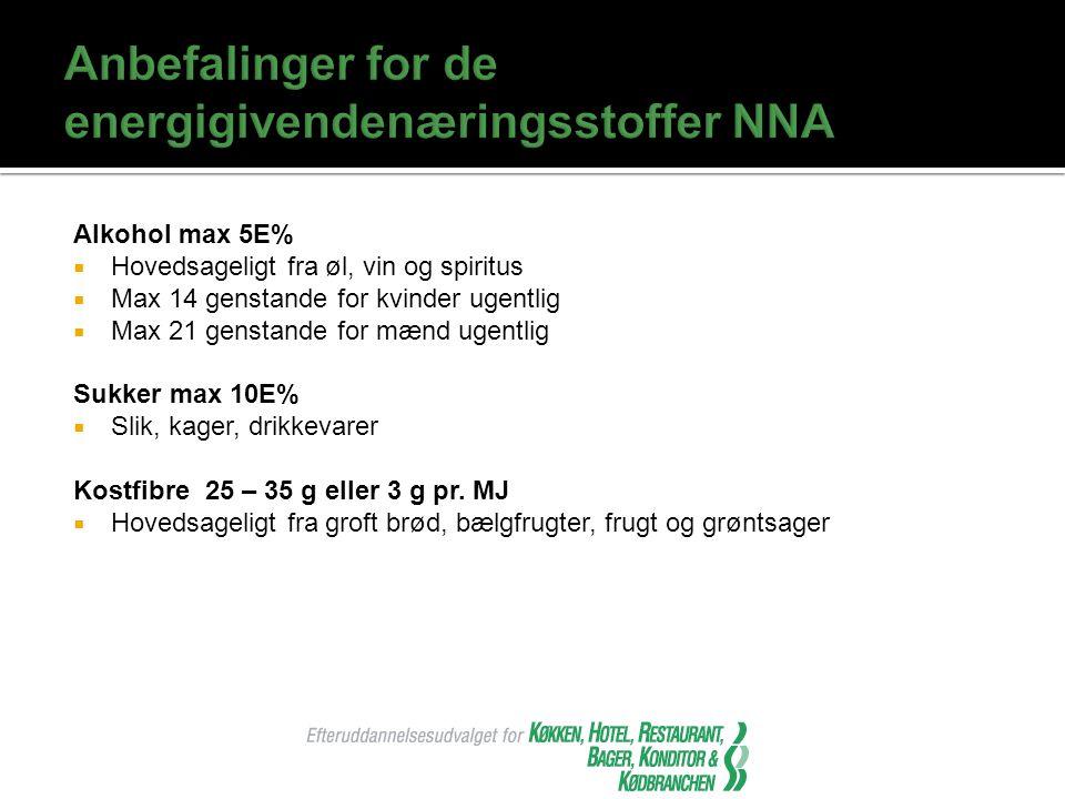 Anbefalinger for de energigivendenæringsstoffer NNA