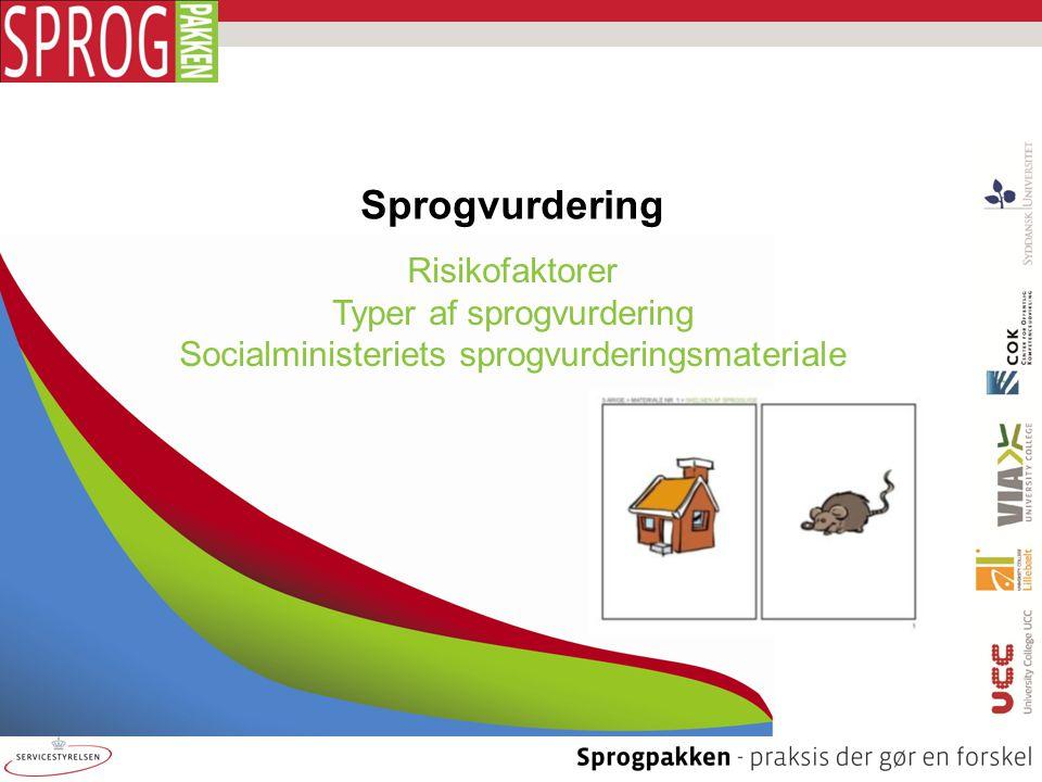 Sprogvurdering Risikofaktorer Typer af sprogvurdering Socialministeriets sprogvurderingsmateriale
