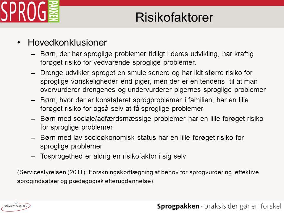 Risikofaktorer Hovedkonklusioner