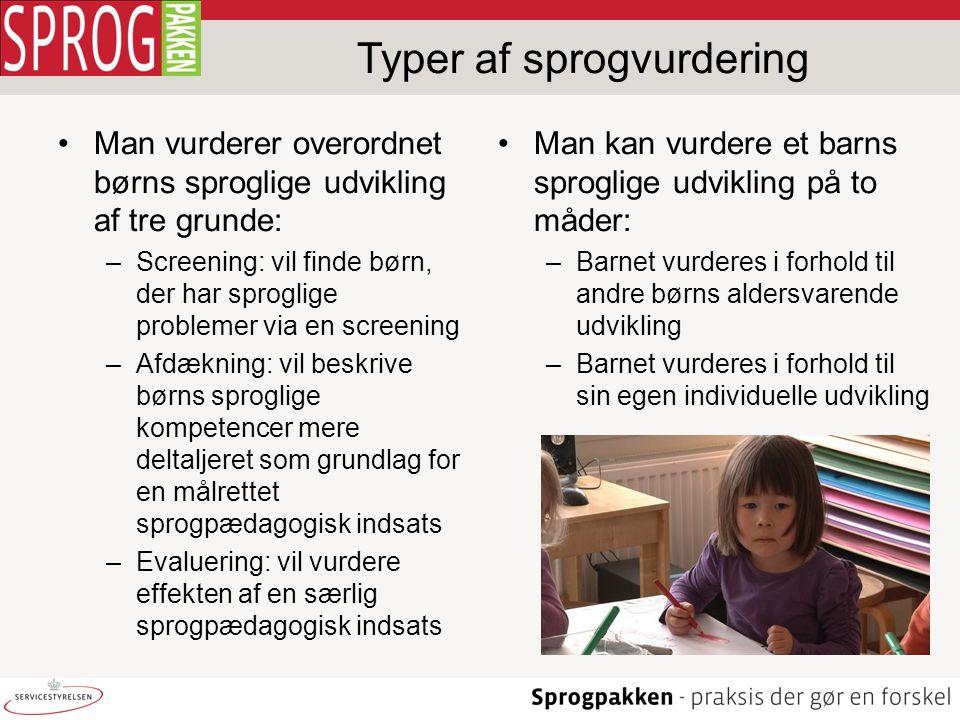Typer af sprogvurdering