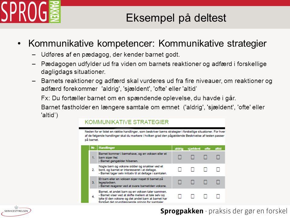 Eksempel på deltest Kommunikative kompetencer: Kommunikative strategier. Udføres af en pædagog, der kender barnet godt.