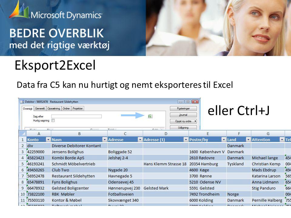 Eksport2Excel eller Ctrl+J