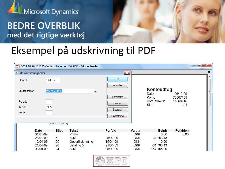 Eksempel på udskrivning til PDF