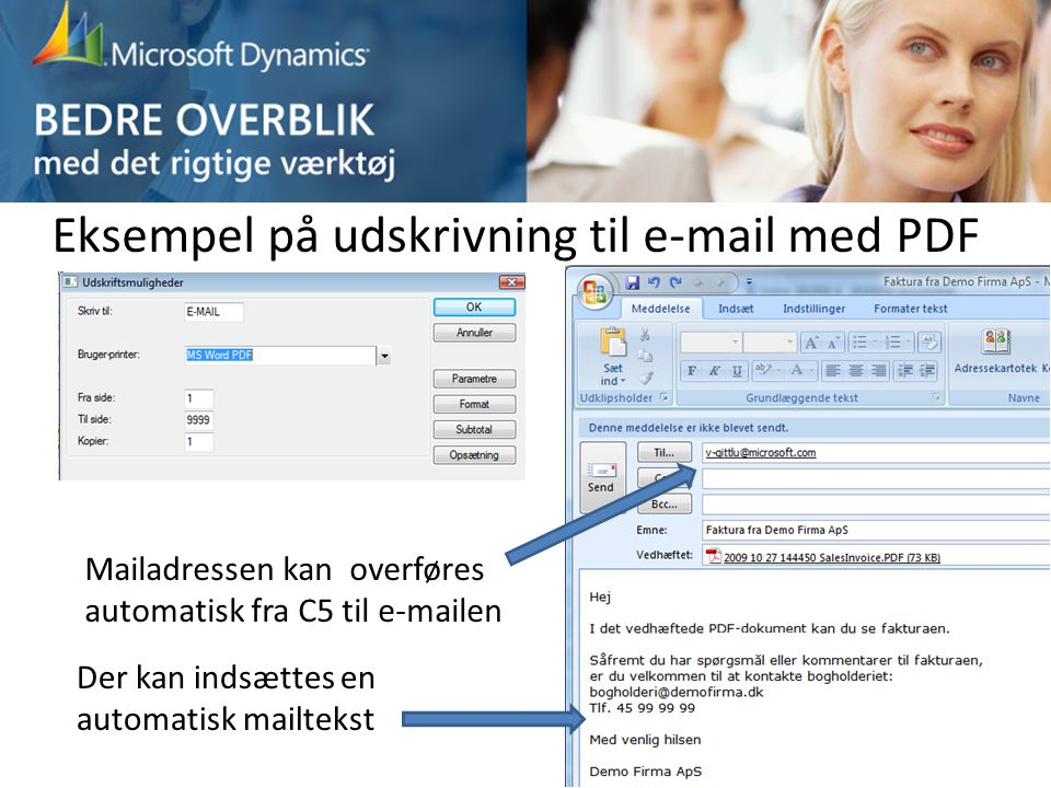 Eksempel på udskrivning til e-mail med PDF
