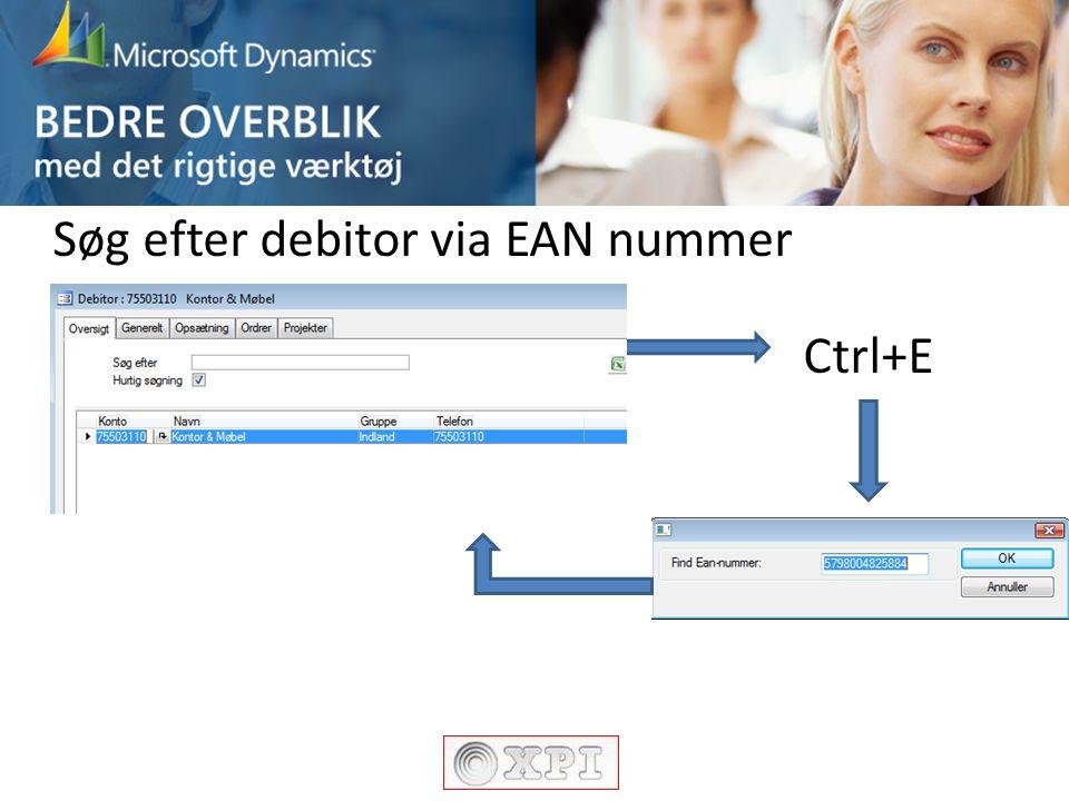 Søg efter debitor via EAN nummer