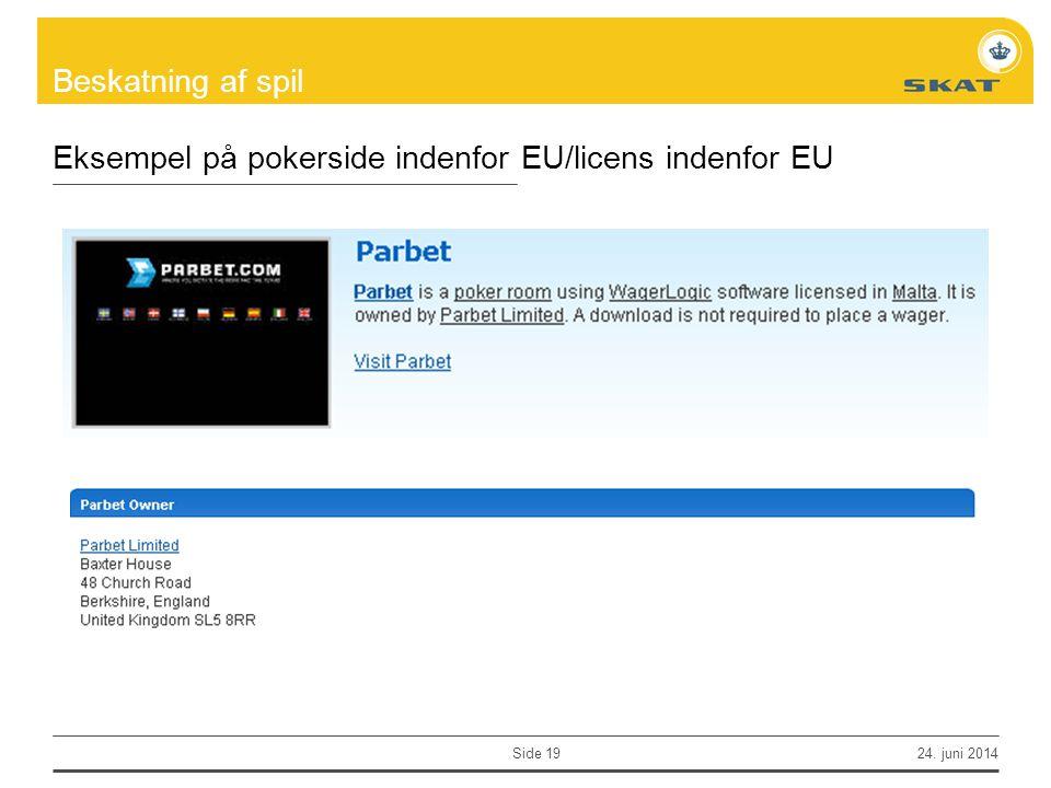 Eksempel på pokerside indenfor EU/licens indenfor EU