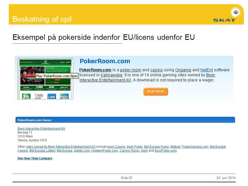 Eksempel på pokerside indenfor EU/licens udenfor EU